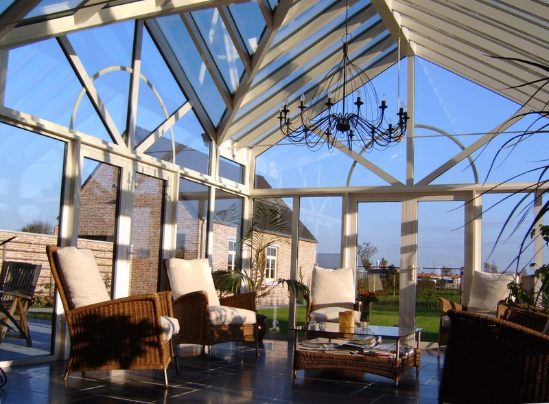 Serres met glazen dak h van den bergh essen - Glazen dak dak glijdende ...